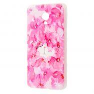 Чехол для Meizu M5 силиконовый с рисунком малиновые цветы