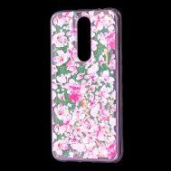 """Чехол для Meizu X8 Блестки вода розовый """"розовые цветы"""""""