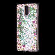 """Чехол для Meizu M6 Note Блестки вода светло-розовый """"цветы"""""""