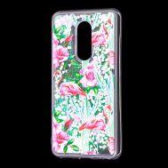 """Чехол для Meizu M8 Lite Блестки вода светло-розовый """"фламинго и кактусы"""""""