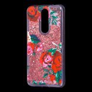 """Чехол для Meizu X8 Блестки вода красный """"красные розы"""""""