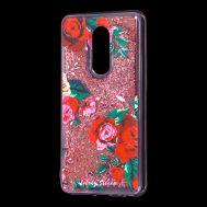 """Чехол для Meizu M8 Lite Блестки вода красный """"красные розы"""""""