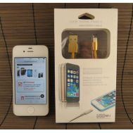 Data-cable USB iPhone 5 1m Gold hi-speed (paper box)