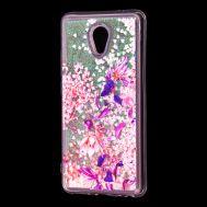 """Чехол для Meizu M5 Note Блестки вода розовый """"розово-фиолетовые цветы"""""""