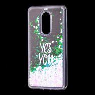 "Чехол для Meizu M8 Lite Блестки вода светло-розовый ""yes you can"""