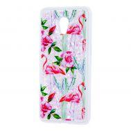 """Чехол для Meizu M5 Note Блестки вода светло-розовый """"фламинго и кактусы"""""""