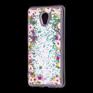 """Чехол для Meizu M5 Note Блестки вода светло-розовый """"цветы"""""""