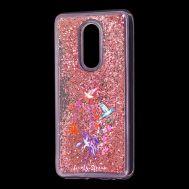 """Чехол для Meizu M8 Lite Блестки вода красный """"колибри"""""""