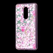 """Чехол для Meizu M8 Lite Блестки вода розовый """"розовые цветы"""""""