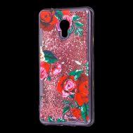 """Чехол для Meizu M5s Блестки вода красный """"красные розы"""""""