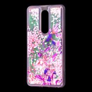 """Чехол для Meizu M8 Note Блестки вода розовый """"розово-фиолетовые цветы"""""""
