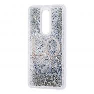 "Чехол для Meizu M8 Note Блестки вода серебристый ""Love"""