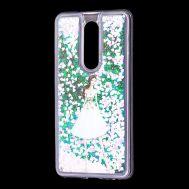 """Чехол для Meizu M8 Note Блестки вода светло-розовый """"девушка в белом платье"""""""