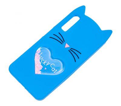 3D чехол для Samsung Galaxy A7 2018 (A750) кот с блестками голубой 1135234