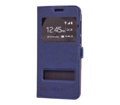 Чехол книжка для Huawei P Smart Rock с двумя окнами синий