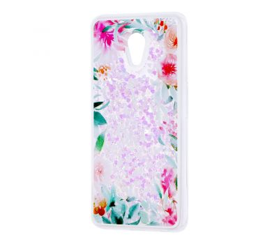 """Чехол для Meizu M6s Блестки вода светло-розовый """"цветущие уголки"""""""