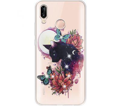 Силиконовый чехол BoxFace Huawei P20 Lite Cat in Flowers (934991-rs10)