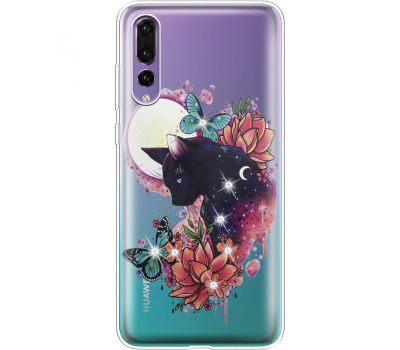 Силиконовый чехол BoxFace Huawei P20 Pro Cat in Flowers (936195-rs10)