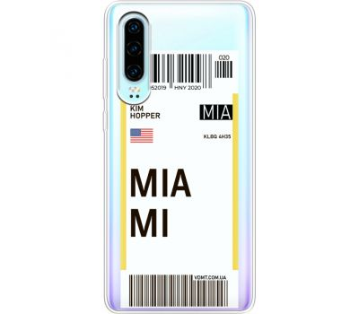 Силиконовый чехол BoxFace Huawei P30 Ticket Miami (36852-cc81)