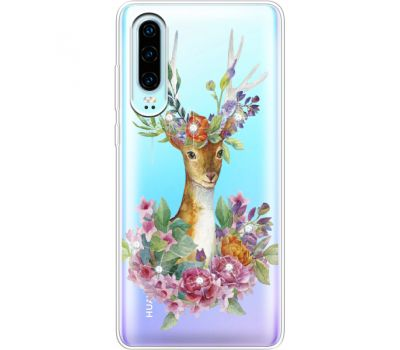 Силиконовый чехол BoxFace Huawei P30 Deer with flowers (936852-rs5)