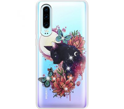 Силиконовый чехол BoxFace Huawei P30 Cat in Flowers (936852-rs10)