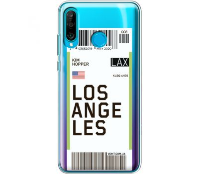 Силиконовый чехол BoxFace Huawei P30 Lite Ticket Los Angeles (36872-cc85)