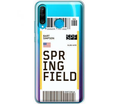 Силиконовый чехол BoxFace Huawei P30 Lite Ticket Springfield (36872-cc93)