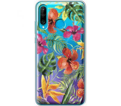 Силиконовый чехол BoxFace Huawei P30 Lite Tropical Flowers (36872-cc43)