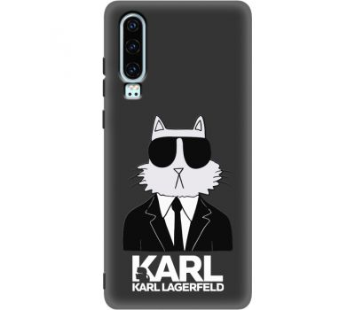 Силиконовый чехол BoxFace Huawei P30 Cat in Black (37049-bk39)