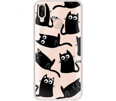 Силиконовый чехол BoxFace Huawei P20 Lite с 3D-глазками Black Kitty (34991-cc73)