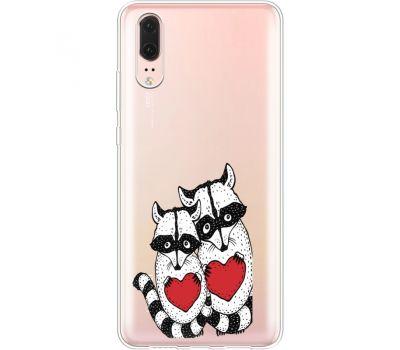 Силиконовый чехол BoxFace Huawei P20 Raccoons in love (35581-cc29)