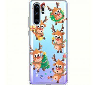 Силиконовый чехол BoxFace Huawei P30 Pro с 3D-глазками Reindeer (36856-cc74)