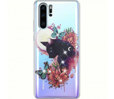 Силиконовый чехол BoxFace Huawei P30 Pro Cat in Flowers (936856-rs10)