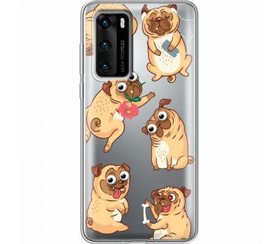 Силиконовый чехол BoxFace Huawei P40 с 3D-глазками Pug (39747-cc77)