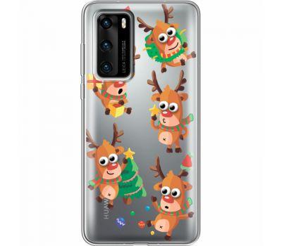 Силиконовый чехол BoxFace Huawei P40 с 3D-глазками Reindeer (39747-cc74)
