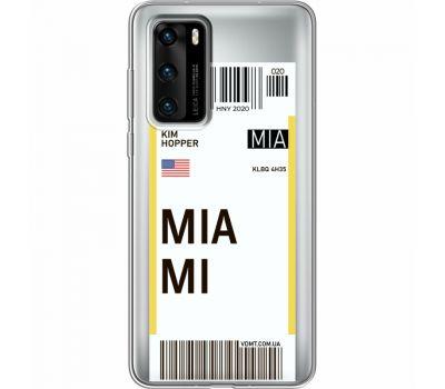 Силиконовый чехол BoxFace Huawei P40 Ticket Miami (39747-cc81)