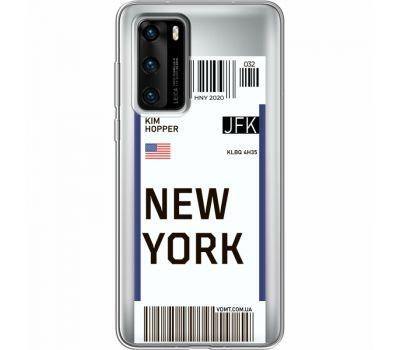 Силиконовый чехол BoxFace Huawei P40 Ticket New York (39747-cc84)