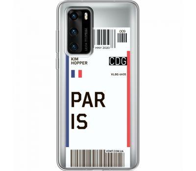 Силиконовый чехол BoxFace Huawei P40 Ticket Paris (39747-cc86)