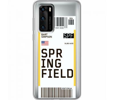 Силиконовый чехол BoxFace Huawei P40 Ticket Springfield (39747-cc93)