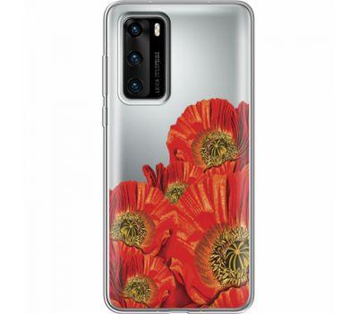 Силиконовый чехол BoxFace Huawei P40 Red Poppies (39747-cc44)