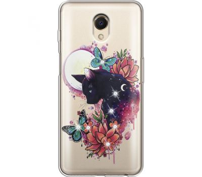 Силиконовый чехол BoxFace Meizu M6s Cat in Flowers (935011-rs10)