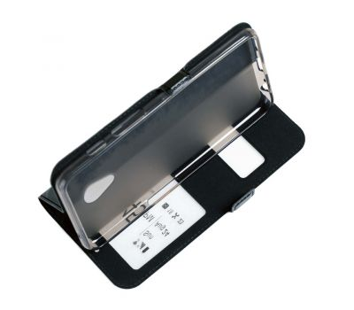 Чехол книжка для Meizu M6s Momax с двумя окнами черный 2340340