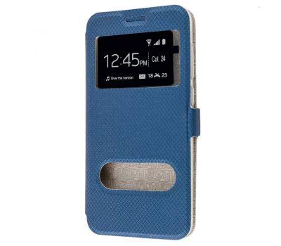 Чехол книжка для Huawei Honor 6С Pro Modern Style с двумя окнами синий