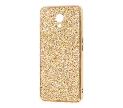 Чехол для Meizu M6s Shining sparkles с блестками золотистый 257638