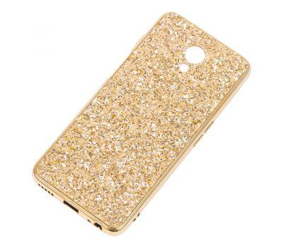 Чехол для Meizu M6s Shining sparkles с блестками золотистый 257639