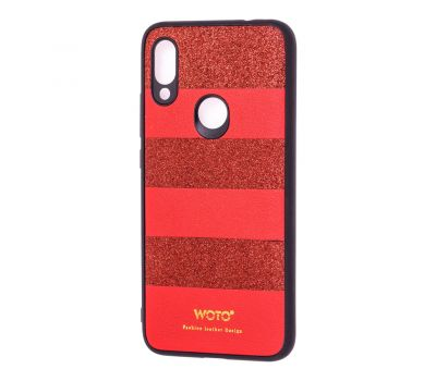 Чехол для Xiaomi Redmi 7 woto с блестками красный 301928