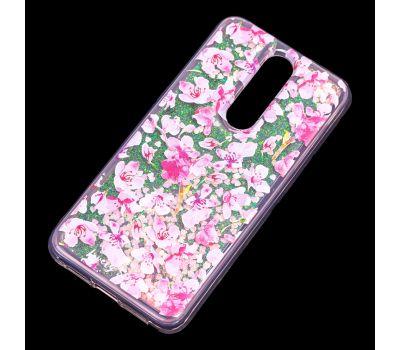 """Чехол для Meizu X8 Блестки вода розовый """"розовые цветы"""" 417602"""