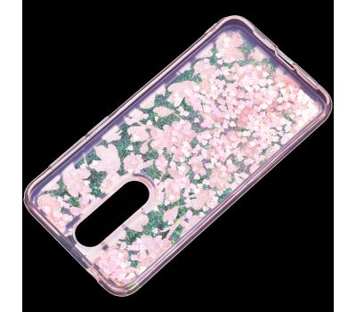 """Чехол для Meizu X8 Блестки вода розовый """"розовые цветы"""" 417603"""