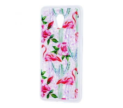 """Чехол для Meizu M6s Блестки вода светло-розовый """"фламинго и кактусы"""""""
