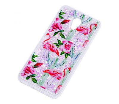 """Чехол для Meizu M6s Блестки вода светло-розовый """"фламинго и кактусы"""" 459271"""